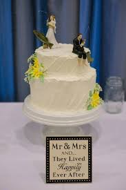 Fishing Cake Topper Gray And Yellow Wedding Rustic