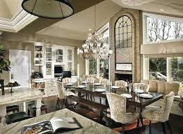 Great Room Chandelier Dining Height Lovely Traditional With Crown Molding Picture Window
