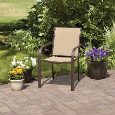 Stack Sling Patio Chair Tan by Mainstays Stacking Sling Chair Dune Walmart Com