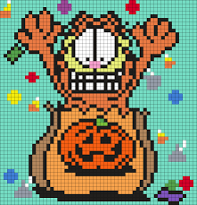 Halloween Hama Bead Patterns by Garfield In A Halloween Treat Bag Perler Bead Pattern Bead
