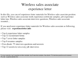 Wireless Sales Associate Experience Letter In This File You Can Ref Materials For Sample