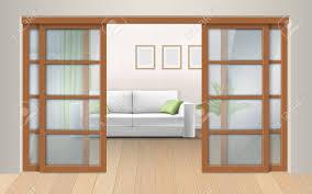 wohnzimmer innenraum mit schiebetüren eingang zum zimmer vom flur vektor realistische darstellung