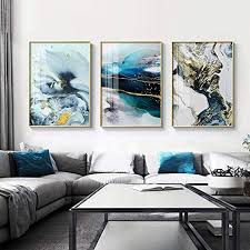 jjshily abstrakte aquarell fluss goldene linien wand plakat