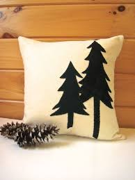 Decorative Throw Pillow Rustic Pine Trees Cabin Green 16