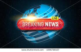 Banner Breaking News Template In Realistic Laptop On Colour Background