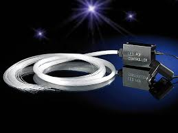 lunartec led glasfaser sternenhimmel mit glitzer effekten blau