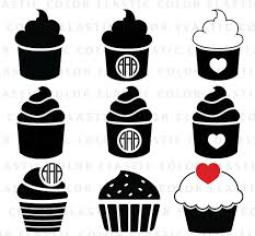 Cupcake svg cupcake clipart cup cake digital cupcake silhouette printable and vector cut file svg eps dxf png from elasticcolor on Etsy