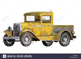 100 1930s Trucks 1930 Vintage Yellow Pickup Truck Isolated On White 3d Render Stock
