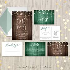 Rustic Themed Wedding Invites Glowing Fairy Lights Vintage Theme Invitation Wooden Background Outdoor Save The Date Thank You DIGITAL