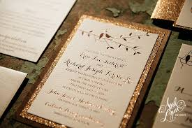 Erin Richs Rustic Glam Rose Gold Foil And Glitter Wooden Wedding Invitation Suite