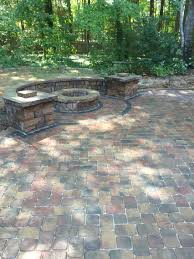 Patio Paver Ideas Pinterest by Pavestone Paver Patio Fire Pit And Seat Walls With Columns In