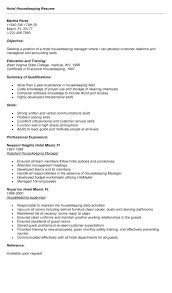 Hosp Amazing Hospital Housekeeping Resume Examples