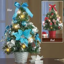 Decorated Prelit Tabletop Christmas Trees