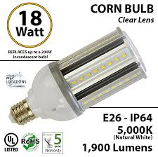 18w led corn bulb 200 watt incandescent light equivalent ledradiant