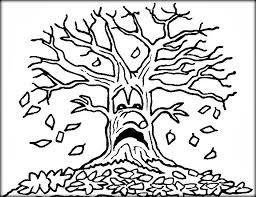 Angry Fall Bare Tree Coloring Sheets