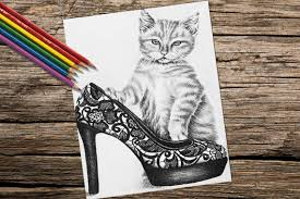Adult Coloring Page Pages Instant Download Kitty Cat For Adults Printable