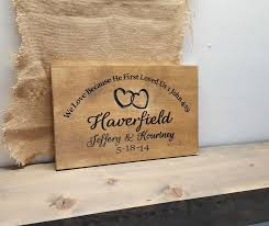 Rustic Religious Personalized Wedding Sign Featuring Carved Painted Font Heart Rings By RandRSigns