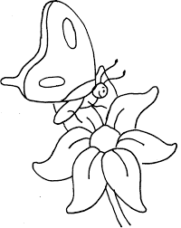 A Small Butterfly Perching On Flowers Coloring Pages
