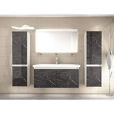 badmöbel set weiss marmor optik hochglanz badezimmermöbel 90 cm