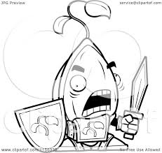 Cartoon Clipart Of A Black And White Knight Seed With Sword Shield