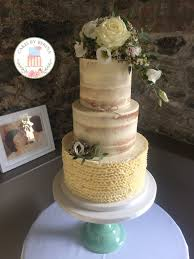 Rustic Vintage Semi Naked Wedding Cake With Buttercream Ruffles From Cakes By Berina