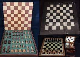3 Antique Chess Checkers Board Games And Set Of Dices Cards With
