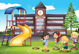 Children Playing At School Playground Illustration Stock Vector