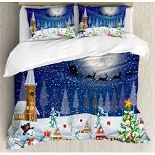 Christmas Winter Snowman Xmas Tree Santa Sleigh Church Moon Gifts Snow Stars Duvet Cover Set