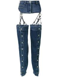 y project high waisted denim chaps women cotton 36 in