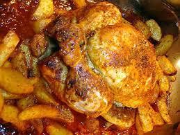 cuisiner poulet au four recette de poulet au four et ses pommes de terre