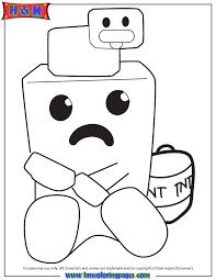 Minecraft Duck On Top Of Cute Creeper Coloring Page