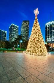 Christmas Tree In Miami Bayfront Park With Cityscape The Back At Night Stock