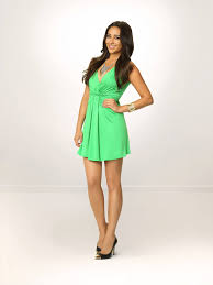 shay mitchell emily fields wears green dress during pretty little