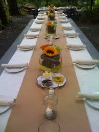 Astonishing Picture Of Wedding Table Decoration Using Long Burlap
