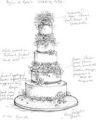 Ana s sketch for Anja s custom wedding cake
