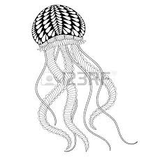 Hand Drawn Sea Jellyfish For Adult Coloring Pages In
