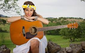 Girl Guitar Music Background Country Singer Photo Field