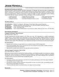 Echnical Resume Examples Information Technology Management No Experience Network Technician Samp