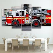 100 Fire Truck Wall Art Limited Edition High Quality HD 5 Panel Canvas The