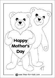 Colouring Page Of Two Bears With A Mothers Day Message