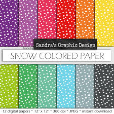 Snow Digital Paper SNOW COLORED PAPER With Pattern In Rainbow Colors For Card Making Scrapbooking 626