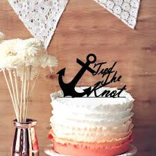 Anchor Wedding Cake Topper Chic Script Tied the Knot Quote for