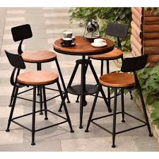 Wrought-iron And Solid Wood Outdoor Table & Chairs Set ...