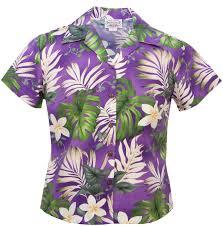 plumeria passion ladies fitted hawaiian aloha shirt in purple