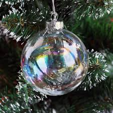 Christmas Tree Amazon Uk by 8pcs 8cm Clear Iridesecnt Glass Christmas Baubles Ball Xmas Tree