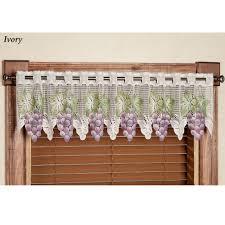 Purple Grape Kitchen Curtains by Vineyard Grape Lace Tier Window Treatment