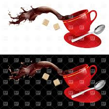 Spilling Coffee From Red Cup With Saucer Teaspoon And Sugar Vector Image Click To Zoom