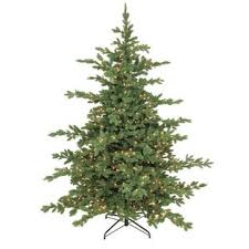 Lit Mountain Noble 65 Green Artificial Christmas Tree With 450 Incandescent