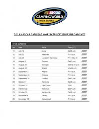 2011 NASCAR CAMPING WORLD TRUCK SERIES TV SCHEDULE « MaxPapis.com Ultimas Vueltas De Chevrolet Silverado 250 En Mosport Nascar Camping World Truck Series Archives The Fourth Turn 2017 Homestead Tv Schedule Racing News Gallagher Elliott Headline Halmar Friesen Continues Its Partnership With Gms For Heat 2 Confirmed Making Sense Of Thsport Seeking A New Manufacturer In Iracing Trucks Talladega Surspeedway Unoh 200 Presented By Zloop Ill Say It Again Nascars Needs Help Racegearcom