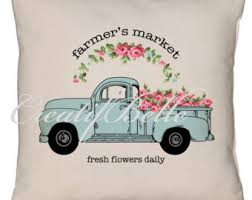 Vintage Aqua Farm Style Flower Truck Instant Digital Download Printable Graphic Transfer 0723